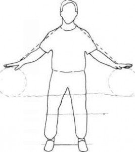 Qigong standing in the stream exercise position